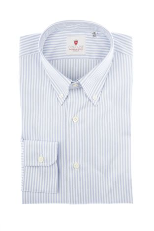 Cordone1956  - Classic Shirt Mod. Oxford Stripes Blue  - Made by: Machine   - Type: casual  - Made In Italy
