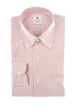 Cordone1956  - Classic Shirt Mod. Oxford Stripes Red  - Made by: Machine   - Type: casual  - Made In Italy