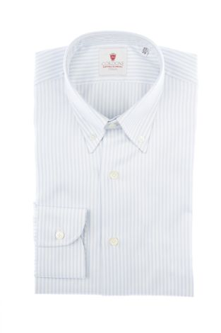 Cordone1956  - Classic Shirt Mod. Oxford Stripes Azure   - Made by: Machine   - Type: casual  - Made In Italy