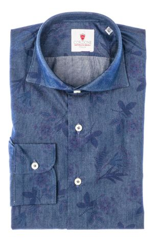 Cordone1956  - Shirt Limited Edition  Mod. Denim Flower  - Made by: Machine    - Type: casual   - Made In Italy
