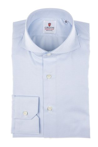 Cordone1956 - Tailored Shirt Mod. Shirt Piedi De Poule Azure - Made by Machine - Made In Italy