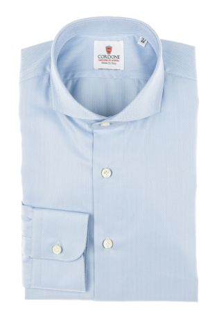 Cordone1956 - Tailored Shirt Mod. Shirt Spina Azure - Made by Machine - Made In Italy
