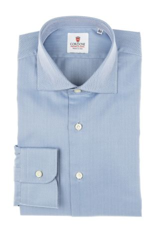 Cordone1956 - Tailored Shirt Mod. Shirt Spina Blue - Made by Machine - Made In Italy