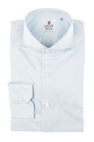 Cordone1956 - Tailored Shirt Mod. Shirt Zaffiro Stripes Azure and White - Made by Machine - Made In Italy