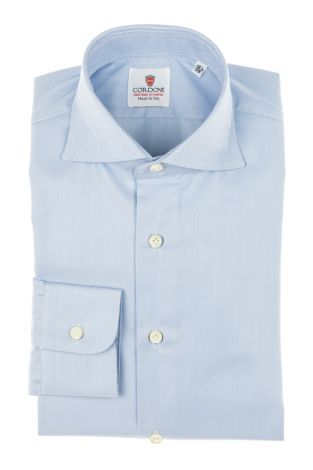 Cordone1956 - Tailored Shirt Mod. Shirt Big Spina Azure - Made by Machine - Made In Italy
