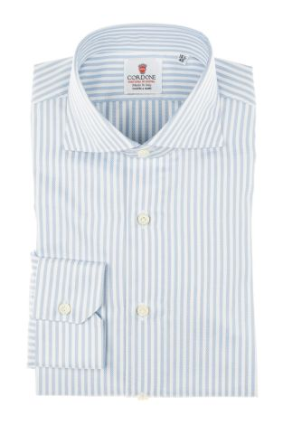 Cordone1956 - Tailored Shirt Mod. Shirt Nido D'Ape Azure - Made by Machine - Made In Italy