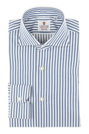 Cordone1956 - Tailored Shirt Mod. Shirt Oxford Satin Stripes Blue and White - Shirt by Hand - Made In Italy