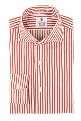 Cordone1956 - Tailored Shirt Mod. Shirt Oxford Satin Stripes Red and White - Shirt by Hand - Made In Italy
