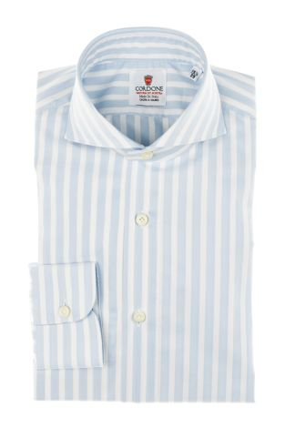 Cordone1956 - Tailored Shirt Mod. Shirt Oxford Satin Big Stripes Azure and White - Shirt by Hand - Made In Italy