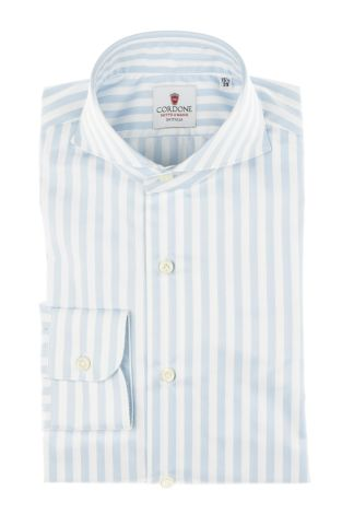 Cordone1956 - Tailored Shirt Mod. Shirt Zaffiro Big Stripes Azure and White - Made by Machine - Made In Italy