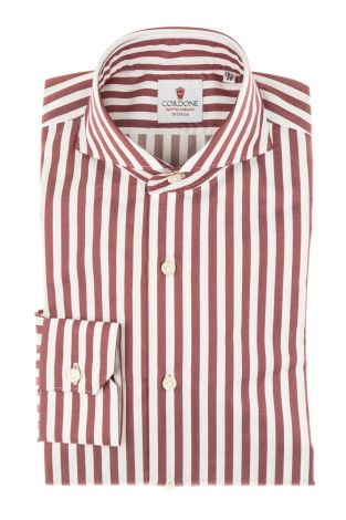 Cordone1956 - Tailored Shirt Mod. Shirt Zaffiro Big Stripes Bordeaux and White - Made by Machine - Made In Italy