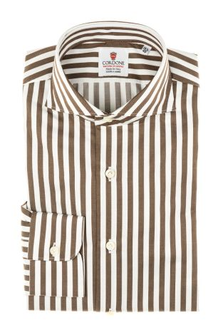 Cordone1956 - Tailored Shirt Mod. Twill Stripes Brown - Shirt by Hand - Made In Italy