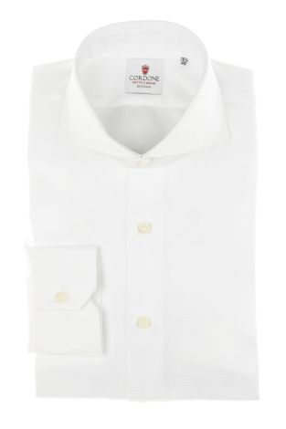 Cordone1956 - Tailored Shirt Mod. Shirts Classic Royale White - Made by Machine - Made In Italy
