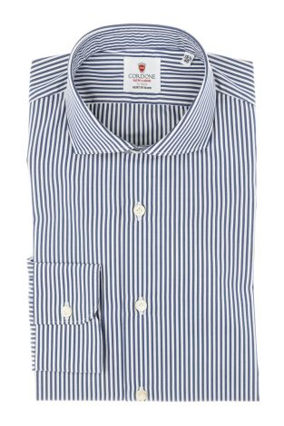 Cordone1956 - Tailored Shirt Mod. Shirt Savoy Stripes Blue and White - Made by Machine - Made In Italy