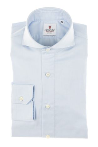 Cordone1956 - Tailored Shirt Mod. Shirt Twill Azure By-Hand - Made by Hand - Made In Italy