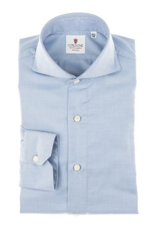 Cordone1956 - Tailored Shirt Mod. Shirt Twill Blue By-Hand - Made by Hand - Made In Italy