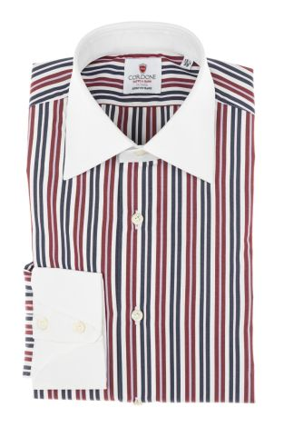Cordone1956 - Tailored Shirt Mod. Shirts Stripes Pup Blue, Bordeaux and White - Made by Machine - Made In Italy