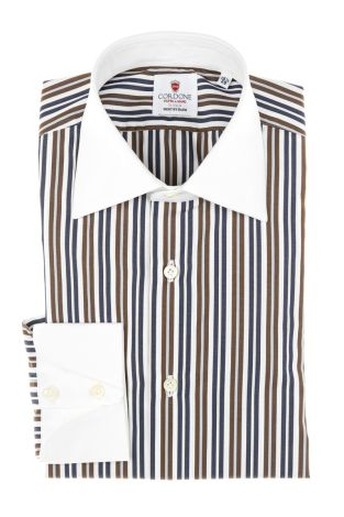 Cordone1956 - Tailored Shirt Mod. Shirts Stripes Pup Blue, Brown and White - Made by Machine - Made In Italy