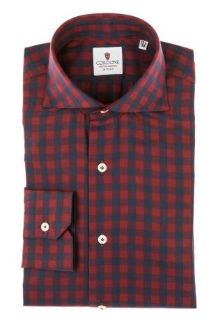 Cordone1956 - Tailored Shirt Mod. Shirt Checkered Blu and Red - Made by Machine - Made In Italy