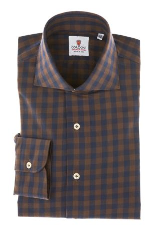 Cordone1956 - Tailored Shirt Mod. Shirt Checkered Brown and Blu - Made by Machine - Made In Italy
