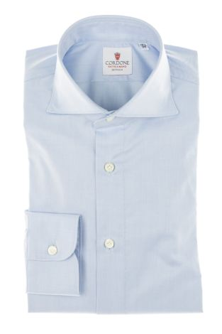 Cordone1956 - Tailored Shirt Mod. Shirt Yoga Twill Azure By-Hand - Made by Hand - Made In Italy