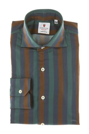 Cordone1956 - Tailored Shirt Mod. Shirt Cotton Big Stripes Rust, Blue and Green  - Made by Machine - Made In Italy