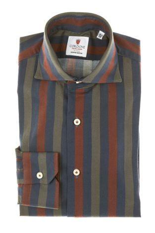 Cordone1956 - Tailored Shirt Mod. Shirt Cotton Big Stripes Bordeaux, Blue and Grey  - Made by Machine - Made In Italy