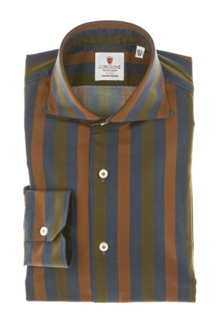 Cordone1956 - Tailored Shirt Mod. Shirt Cotton Big Stripes Brown, Blue and Green  - Made by Machine - Made In Italy