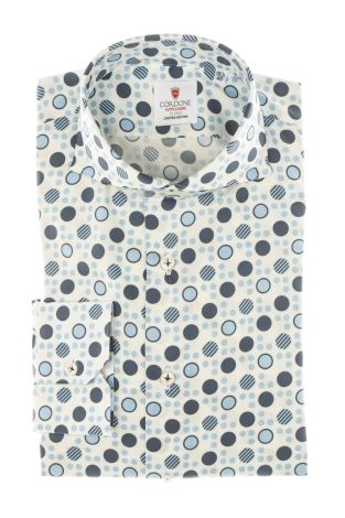 Cordone1956 - Tailored Shirt Mod. Shirt Cotton Polka Dots Azure and Blue - Made by Machine - Made In Italy