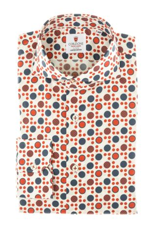 Cordone1956 - Tailored Shirt Mod. Shirt Cotton Polka Dots Red and Blue - Made by Machine - Made In Italy