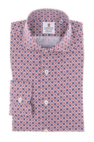 Cordone1956 - Tailored Shirt Mod. Shirt  Star Violet and Red - Made by Machine - Made In Italy