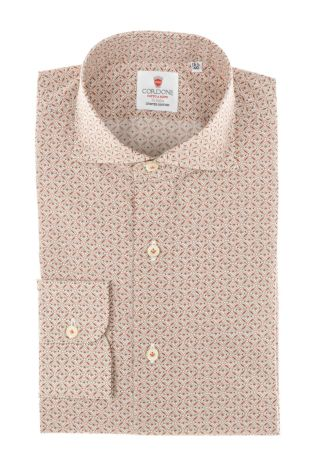 Cordone1956 - Tailored Shirt Mod. Shirt Flower Beige and Red - Made by Machine - Made In Italy