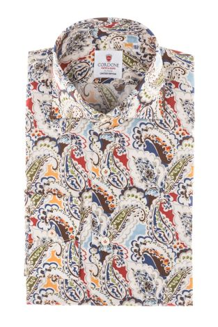 Cordone1956 - Tailored Shirt Mod. Shirt Flower Beige, Brown and Blue  - Made by Machine - Made In Italy