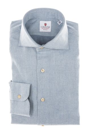 Cordone1956 - Tailored Shirt Mod. Shirt Flannel Azure - Made by Machine - Made In Italy