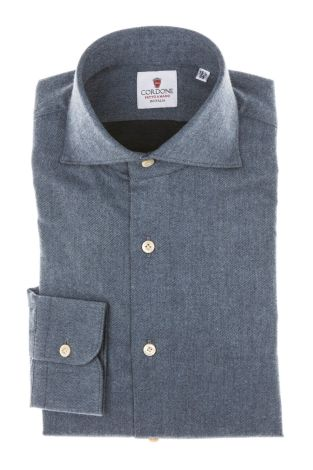 Cordone1956 - Tailored Shirt Mod. Shirt Flannel Blue - Made by Machine - Made In Italy