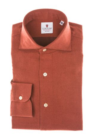 Cordone1956 - Tailored Shirt Mod. Shirt Flannel Red - Made by Machine - Made In Italy