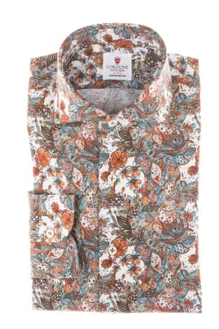 Cordone1956 - Tailored Shirt Mod. Shirt Flower and Butterfly Brown - Made by Machine - Made In Italy