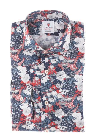 Cordone1956 - Tailored Shirt Mod. Japan Flowers Blue Red - Made by Machine - Made In Italy