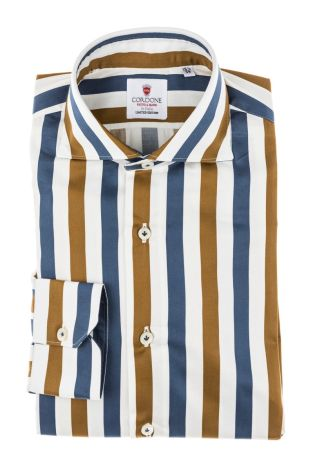 Cordone1956 - Tailored Shirt Mod. Shirt Cotton Big Stripes Gold, White and Blue - Made by Machine - Made In Italy
