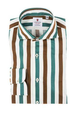Cordone1956 - Tailored Shirt Mod. Shirt Cotton Big Stripes Brown, White and Green - Made by Machine - Made In Italy