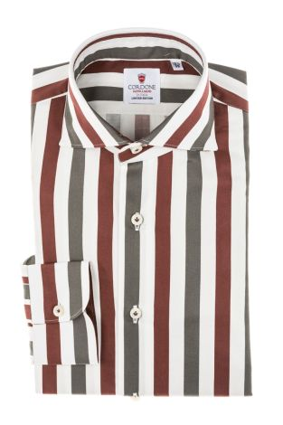 Cordone1956 - Tailored Shirt Mod. Big Stripes Bordeaux/Grey - Made by Machine - Made In Italy