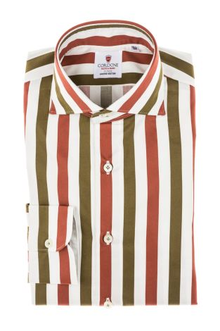 Cordone1956 - Tailored Shirt Mod. Shirt Cotton Big Stripes Green, White and Brick - Made by Machine - Made In Italy