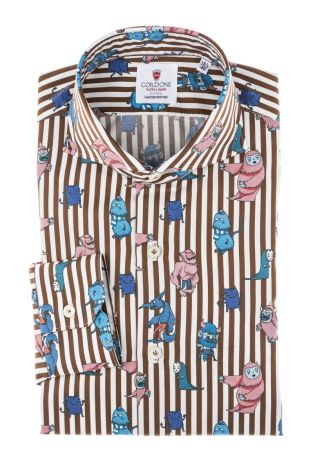 Cordone1956 - Tailored Shirt Mod. Shirt Cotton Monsters Stripes  Brown and White - Made by Machine - Made In Italy