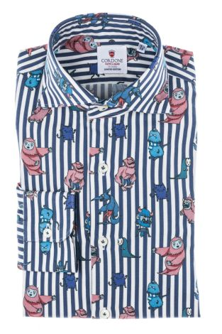 Cordone1956 - Tailored Shirt Mod. Shirt Cotton Monsters Stripes  Blue and White - Made by Machine - Made In Italy