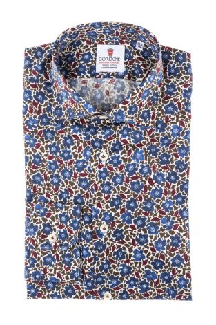 Cordone1956 - Tailored Shirt Mod. Blossom Blue - Made by Machine - Made In Italy