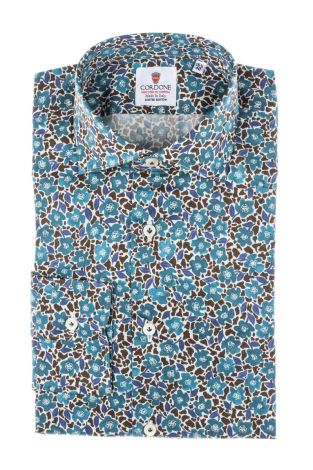 Cordone1956 - Tailored Shirt Mod. Blossom Turquoise - Made by Machine - Made In Italy