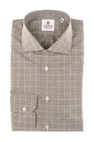Cordone1956 - Tailored Shirt Mod. Dundee Brown - Made by Machine - Made In Italy