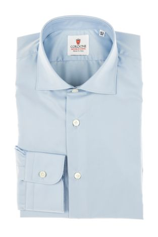 Cordone1956 - Tailored Shirt Mod. Twill Azure - Made by Machine - Made In Italy