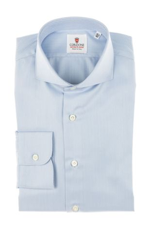 Cordone1956 - Tailored Shirt Mod. Spina Azure - Made by Machine - Made In Italy