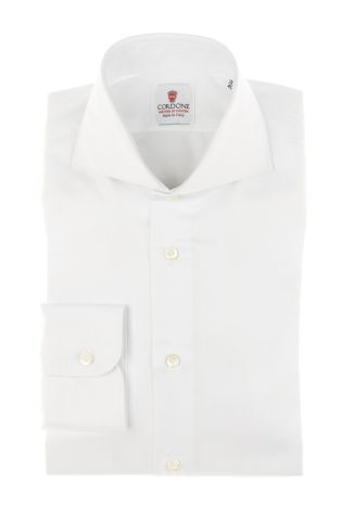 Cordone1956 - Tailored Shirt Mod. Spina White - Made by Machine - Made In Italy